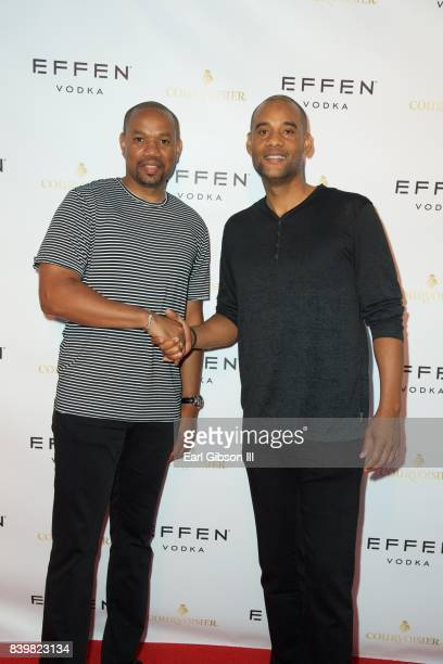 Minority business owners Edward Barnett and Karim Webb attend the Buffalo Wild Wings Opening In Koreatown at Buffalo Wild Wings on August 26 2017 in...