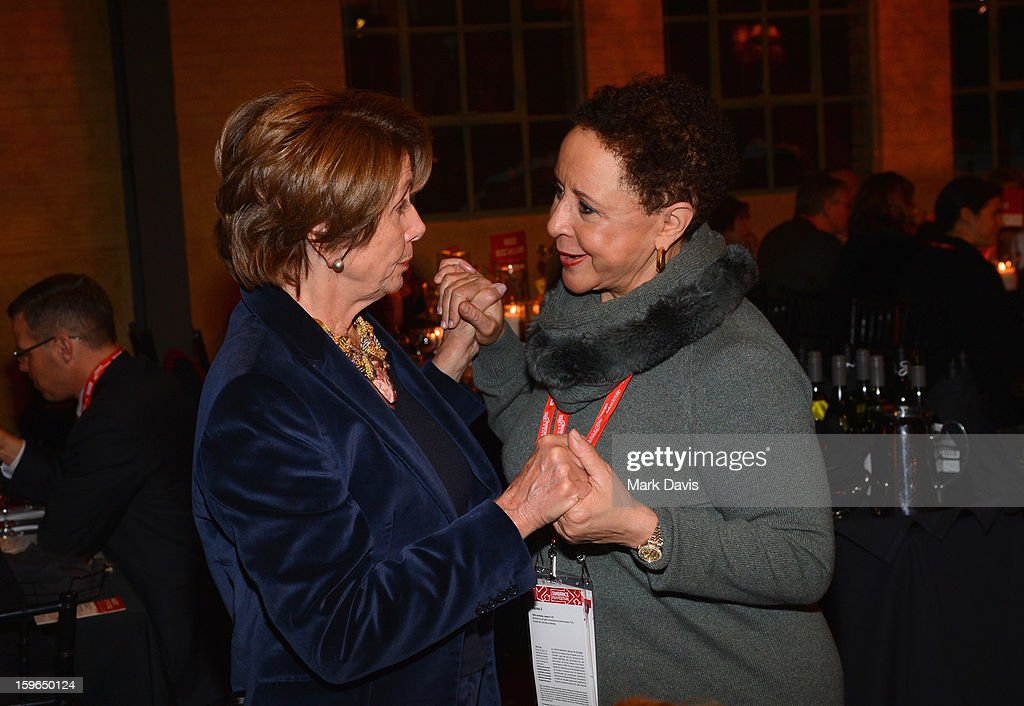 Minority Leader of the United States House of Representatives Nancy Pelosi and Team President of the WNBA's Washington Mystics Sheila Johnson attend An Artist At The Table, a benefit for the Sundance Institute during the 2013 Sundance Film Festival at The Shop on January 17, 2013 in Park City, Utah.