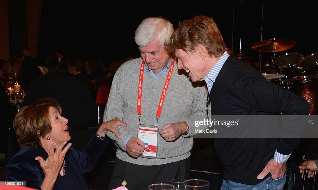 Minority Leader of the United States House of Representatives Nancy Pelosi, Chairman and CEO of the Motion Picture Association of America Christopher Dodd and Founder of the Sundance Film Festival Robert Redford attend An Artist At The Table, a benefit for the Sundance Institute during the 2013 Sundance Film Festival at The Shop on January 17, 2013 in Park City, Utah.
