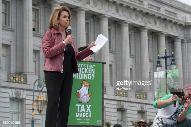 Minority Leader of the United States House of Representatives Nancy Pelosi speaks during Tax March in San Francisco California on April 15 2017 The...