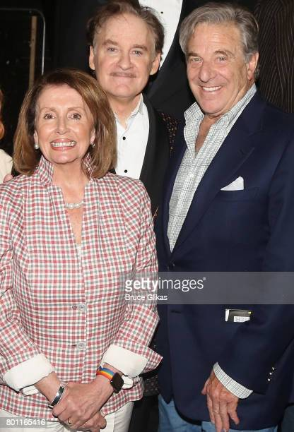 Minority Leader of the United States House of Representatives Nancy Pelosi husband Paul Pelosi and Kevin Kline pose backstage at the hit comedy...