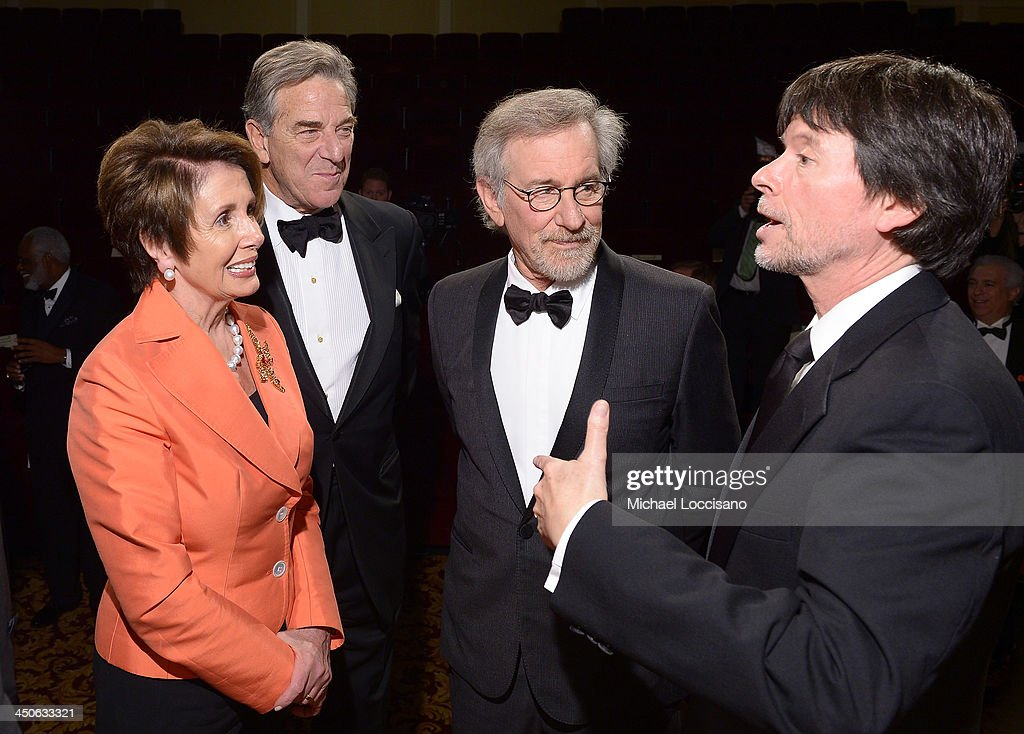 Minority Leader of the U.S. House of Representatives <a gi-track='captionPersonalityLinkClicked' href=/galleries/search?phrase=Nancy+Pelosi&family=editorial&specificpeople=169883 ng-click='$event.stopPropagation()'>Nancy Pelosi</a>, <a gi-track='captionPersonalityLinkClicked' href=/galleries/search?phrase=Paul+Pelosi&family=editorial&specificpeople=2863630 ng-click='$event.stopPropagation()'>Paul Pelosi</a>, filmmaker and honoree <a gi-track='captionPersonalityLinkClicked' href=/galleries/search?phrase=Steven+Spielberg&family=editorial&specificpeople=202022 ng-click='$event.stopPropagation()'>Steven Spielberg</a>, and Foundation for the National Archives Board Vice President and Gala Chair <a gi-track='captionPersonalityLinkClicked' href=/galleries/search?phrase=Ken+Burns&family=editorial&specificpeople=220451 ng-click='$event.stopPropagation()'>Ken Burns</a> view facsimile versions of the 'two 13th Amendments' at the Foundation for the National Archives 2013 Records of Achievement award ceremony and gala in honor of <a gi-track='captionPersonalityLinkClicked' href=/galleries/search?phrase=Steven+Spielberg&family=editorial&specificpeople=202022 ng-click='$event.stopPropagation()'>Steven Spielberg</a> on November 19, 2013 in Washington, D.C.