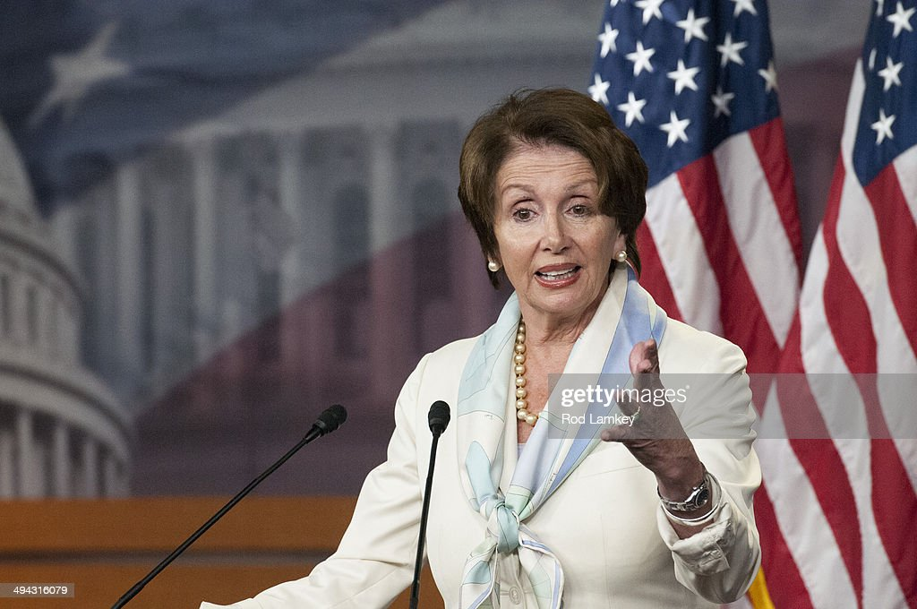 Minority Leader Rep. <a gi-track='captionPersonalityLinkClicked' href=/galleries/search?phrase=Nancy+Pelosi&family=editorial&specificpeople=169883 ng-click='$event.stopPropagation()'>Nancy Pelosi</a> (D-CA) offers remarks to reporters during her weekly press conference in the Capitol Visitor Center at the U.S. Capitol May 29, 2014 in Washington, DC. Pelosi touched on the delays at the VA and also the shooting in Santa Barbara.