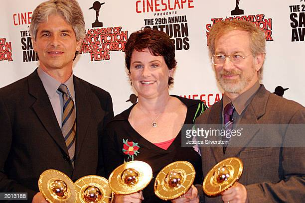 Minority Report winners producers Walter Parkes Bonnie Curtis and director Steven Spielberg attend the 29th Annual Saturn Awards presented by...