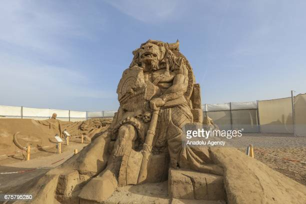 Minotaur Fictional Greek character sand sculpture is exhibited during the 11th International Antalya Sand Sculpture Festival in Antalya Turkey on May...