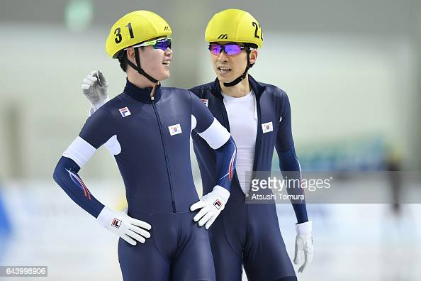 MinSeok Kim and SeungHoon Lee of South Korea celebrates after finishing the race in the speed skating mens mass start on the day six of the 2017...