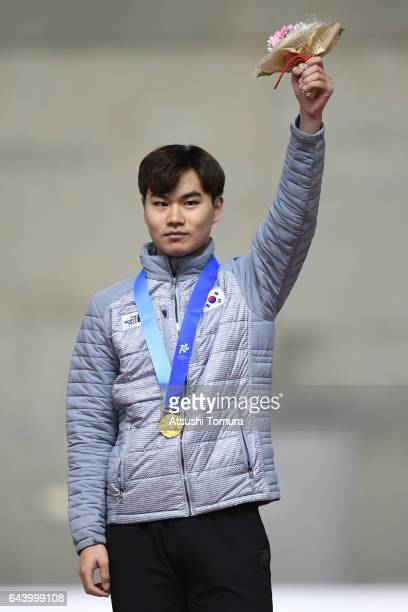 MinSeok Kim of South Korea poses on the podium during award ceremony for the speed skating mens 1500m on the day six of the 2017 Sapporo Asian Winter...