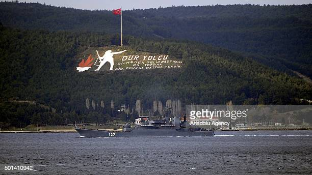 'Minsk' a battleship belonging to the Russian navy passes through the Dardanelles Strait in Canakkale Turkey on December 15 2015