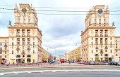 BELORUSSIA, MINSK - March 11.2017: Two houses on Kirov Street. Gates of Minsk