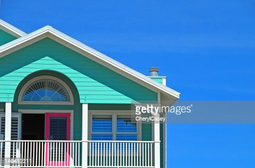 Mint and Pink Coastal HOme : Stock Photo
