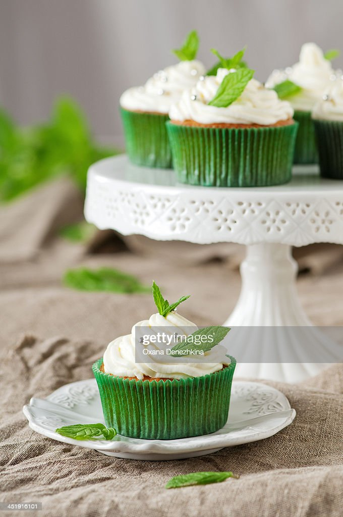 Mint cupcakes : Stock Photo