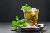 Mint Julep cocktail with bourbon, ice and mint in glass