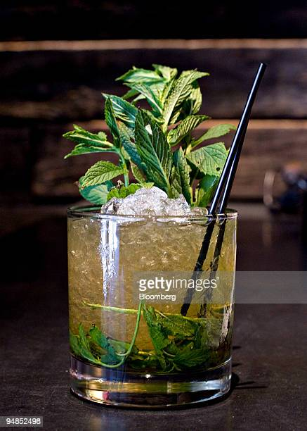 A mint julep is displayed for a photograph at Wildwood Barbeque in New York US on Tuesday May 27 2008 Wildwood Barbeque is located at 225 Park Avenue...