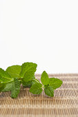 Mint leaves atop mat (focus on mint)