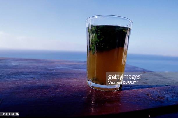 Mint tea on the terrace of the Hafa cafe in Tangier Morocco