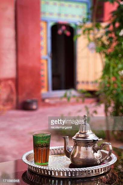 Mint tea served in Moroccan Riad (courtyard)