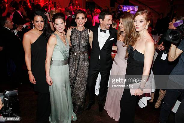 Minu BaratiFischer Bibiana Beglau Christiane Paul Oliver Berben Katrin Kraus and Pheline Roggan attend the German Film Ball 2015 on January 17 2015...