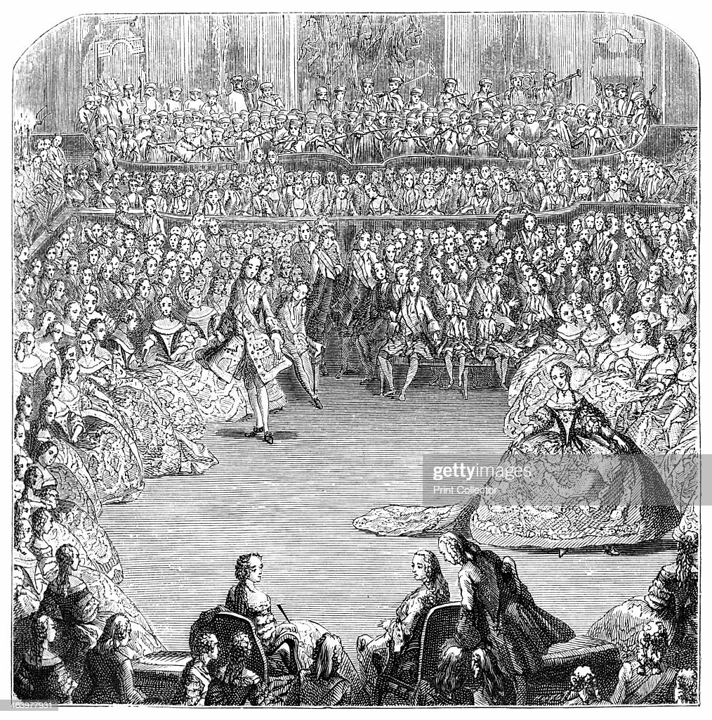 'Minuet Dancer And The King' Louis XV king of France holds a grand ball at Versailles February 24th 1754 Based on an original drawing by C N Cochin