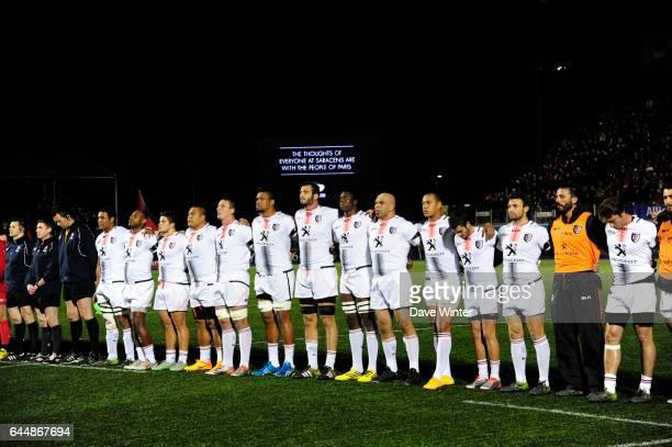 Minute de silence / Hommage aux victimes des attentas de Paris Saracens / Toulouse Champions Cup Photo Dave Winter / Icon Sport