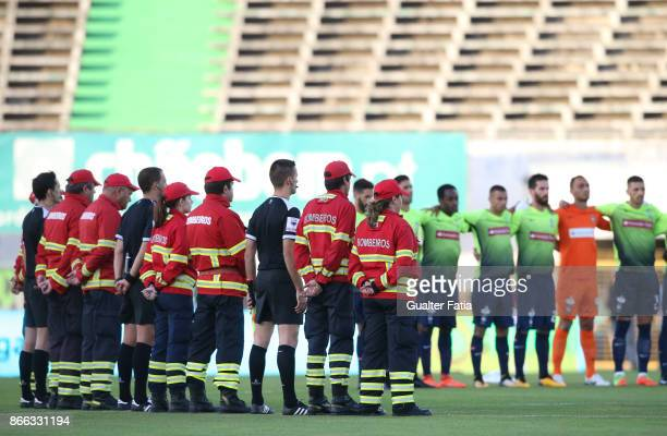 A minute of silence for the victims of the forest fires in Portugal before the start of the Primeira Liga match between Vitoria Setubal and CS...