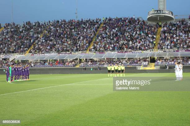 A minute of silence in memory of referee Stefano Farina during the Serie A match between ACF Fiorentina and Pescara Calcio at Stadio Artemio Franchi...