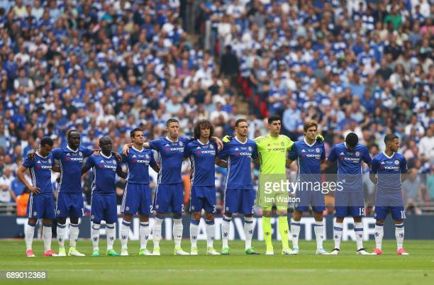 A minute of silence is observed by Chelsea players to commemorate the victims of the Manchester Arena terror attack prior to The Emirates FA Cup...