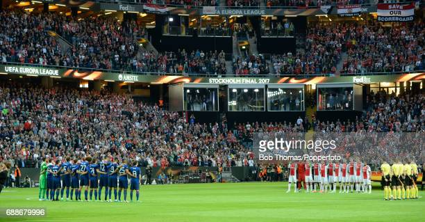 A minute of silence is observed to commemorate the victims of the Manchester Arena terror attack prior to the UEFA Europa League final between Ajax...
