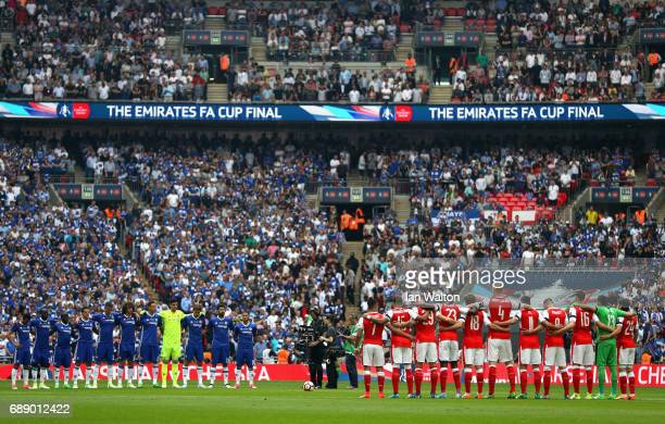 A minute of silence is observed to commemorate the victims of the Manchester Arena terror attack prior to The Emirates FA Cup Final between Arsenal...