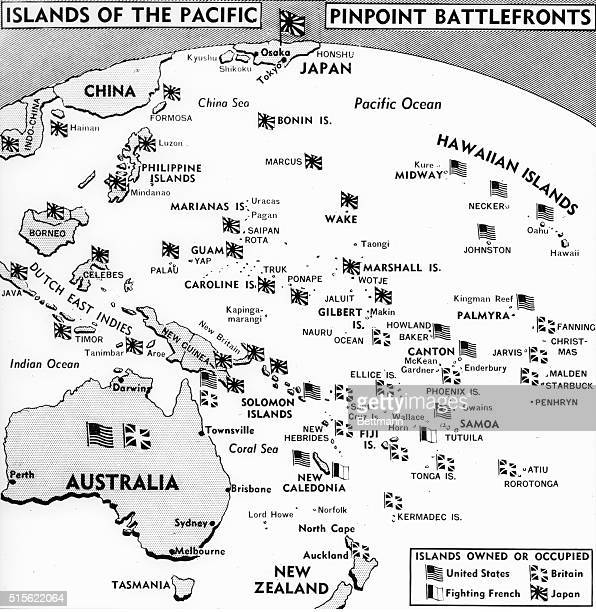 Minute pinpoints on the map but important prizes in the Pacific war are the thousands of islands between Hawaii and the China coast Map shows the...