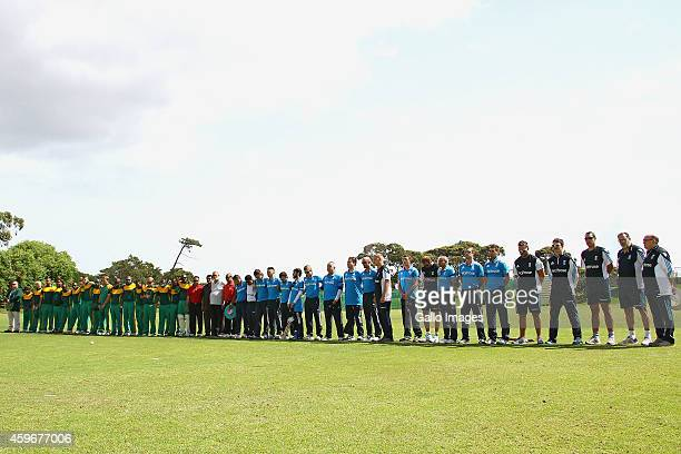 A minute silence for Philip Hughes is held ahead of the Blind Cricket World Cup 2014 match between South Africa and England at Gary Kirsten Oval on...