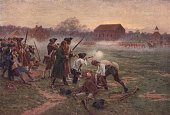 Minutemen facing British soldiers on Lexington Common Massachusetts in the first battle in the War of Independence 19th April 1775 Original artist...