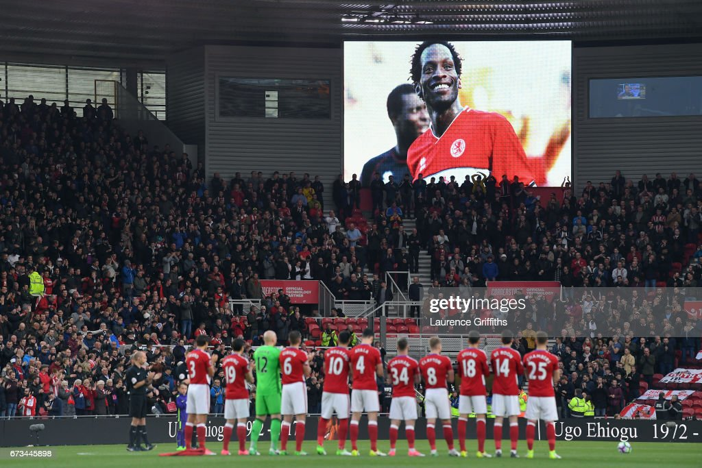 A minutes applause is held in tribute to Ugo Ehiogu prior to the Premier League match between Middlesbrough and Sunderland at the Riverside Stadium on April 26, 2017 in Middlesbrough, England.