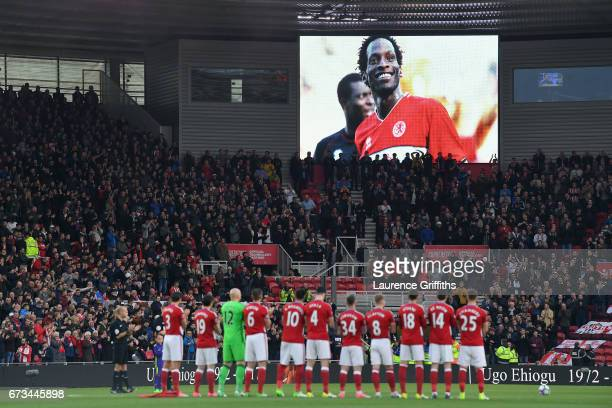 A minutes applause is held in tribute to Ugo Ehiogu prior to the Premier League match between Middlesbrough and Sunderland at the Riverside Stadium...