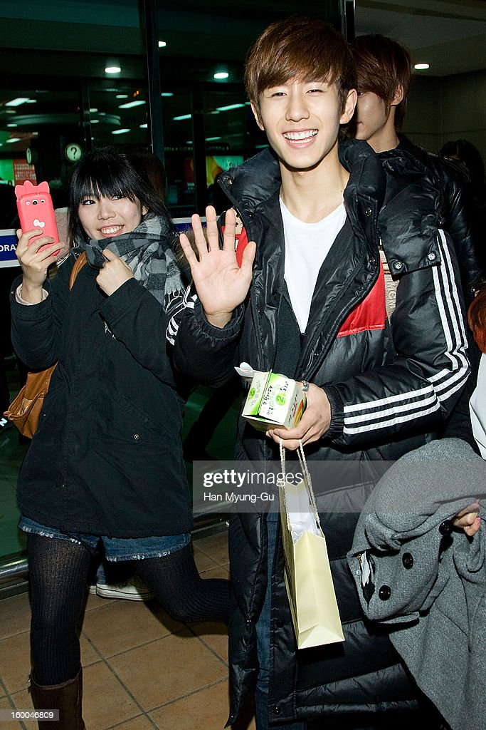 Min-Woo (Minwoo) of South Korean boy band Boyfriend is seen at Gimpo International Airport on January 25, 2013 in Seoul, South Korea.