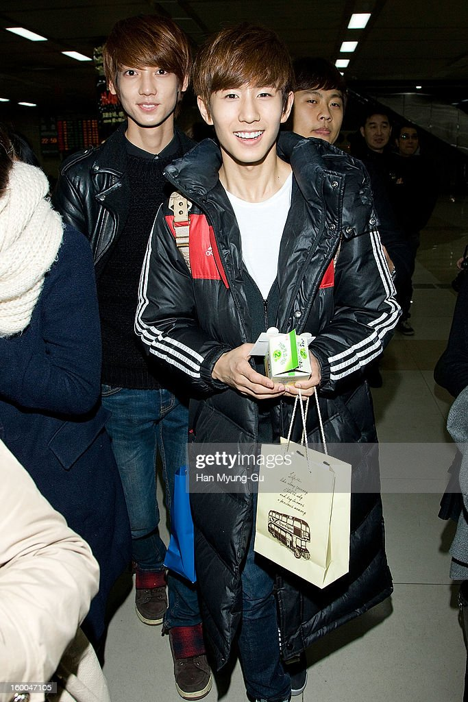Min-Woo (Minwoo) of South Korean boy band Boyfriend is seen at Gimpo International Airport on January 25, 2013 in Seoul, South Korea.