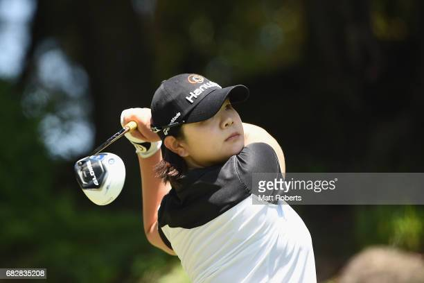 MinYoung Lee of South Korea hits her tee shot on the 15th hole during the final round of the HokennoMadoguchi Ladies at the Fukuoka Country Club...