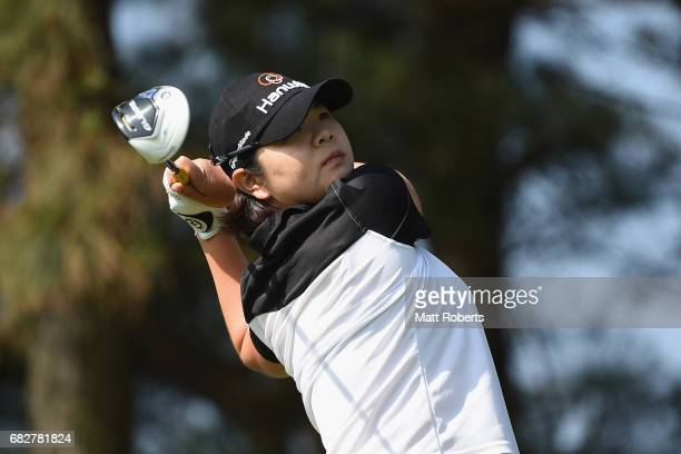 MinYoung Lee of South Korea hits her tee shot on the 3rd hole during the final round of the HokennoMadoguchi Ladies at the Fukuoka Country Club...