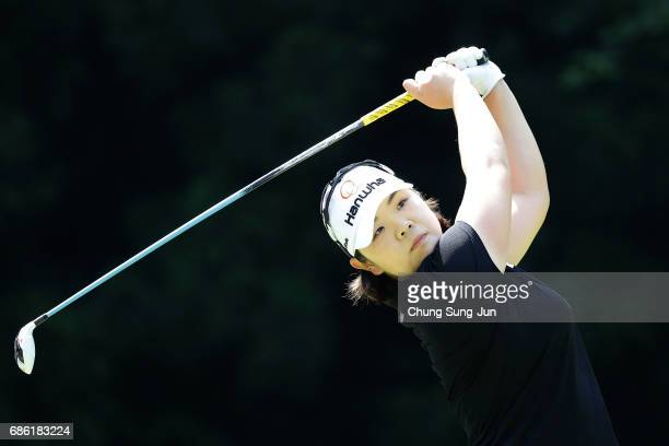 MinYoung Lee of South Korea plays a tee shot on the 5th hole during the final round of the Chukyo Television Bridgestone Ladies Open at the Chukyo...