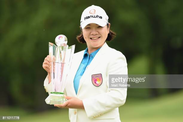 MinYoung Lee of South Korea poses with hthe winners trophy during the final round of the Nipponham Ladies Classics at the Ambix Hakodate Club on July...