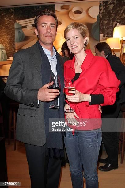 Minzi zu Hohenlohe and boyfriend Marc Adam attend the 'Art Food' cocktail at Ella restaurant at Lenbachhaus on March 10 2014 in Munich Germany