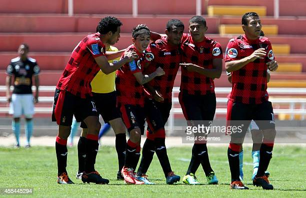 Minzun Quina of FBC Melgar celebrates after scoring the opening goal against Sporting Cristal during a match between FBC Melgar and Sporting Cristal...