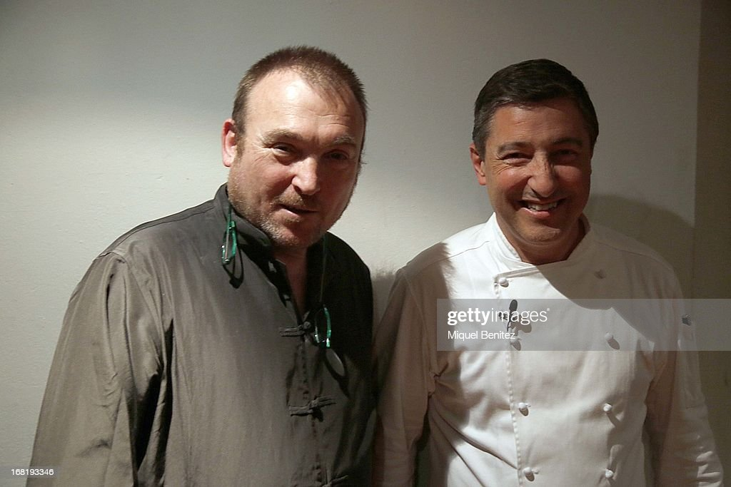 Miquel Barcelo and Joan Roca attend 'El Somni' 'The Dream' Gastronimic Opera Performance on May 6 2013 in Barcelona Spain