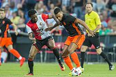 Miquel Nelom of Feyenoord Ruben Vezo of Valencia CF during the preseason friendly match between Feyenoord and Valencia on July 23 2016 at the Kuip in...