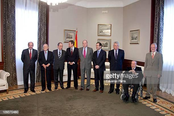 Miquel Roca Santiago Carrillo Landelino Lavilla Jose Luis Rodriguez Zapatero King Juan Carlos I Jose Bono Felipe Gonzalez Manuel Fraga and Jose rojas...