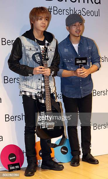 Mir and GO of MBLAQ attend the Bershka flagship store opening event at MapoGu on November 20 2015 in Seoul South Korea