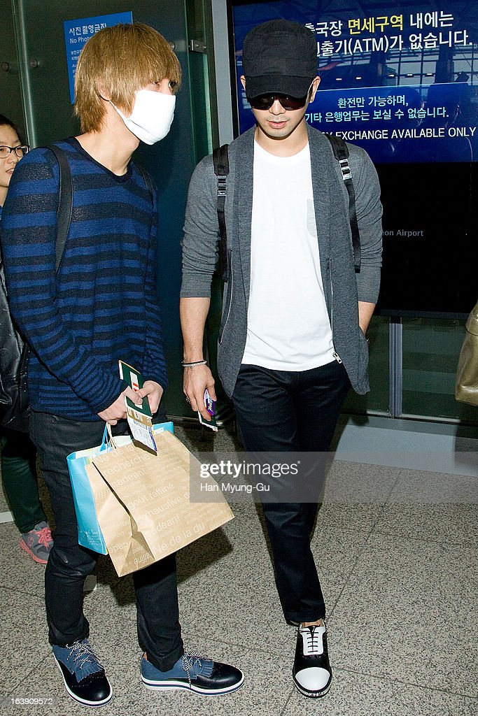 Mir and G.O of South Korean boy band MBLAQ are seen on departure at Incheon International Airport on March 15, 2013 in Incheon, South Korea.