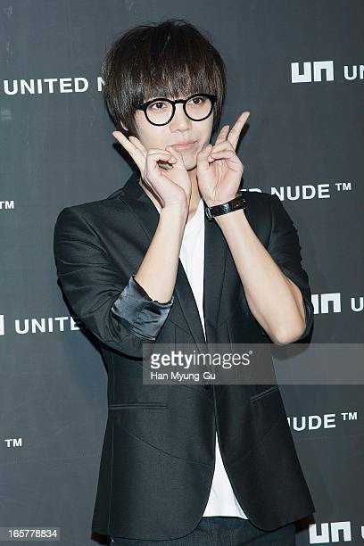 Mir of South Korean boy band MBLAQ poseS for meida the 'United Nude' flagship store opening at United Nude Gangnam Store on April 5 2013 in Seoul...