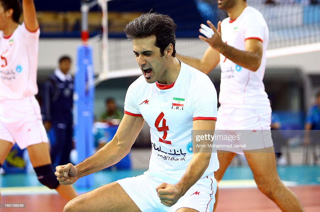 Mir Saeed Marouf during the 17th Asian Men's Volleyball Championship between Iran And Japan on October 5, 2013 in Dubai, United Arab Emirates.