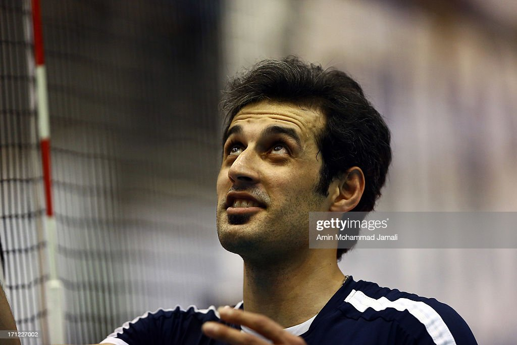 Mir Saeid Marouf Lankarani of Iran in action during Volleyball World League between Iran v Serbia on June 23, 2013 in Tehran, Iran Azadi Complex.