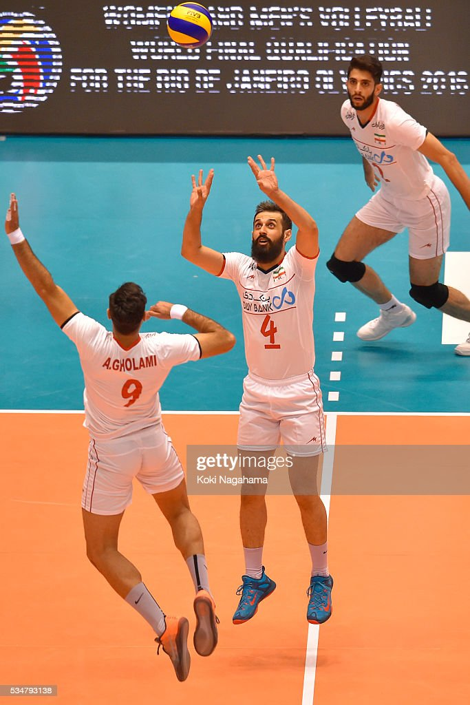 Mir Saeid Marouflakrani #4 of Iran tosses the ball during the Men's World Olympic Qualification game between Iran and Australia at Tokyo Metropolitan Gymnasium on May 28, 2016 in Tokyo, Japan.